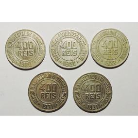 Lote 5 Moedas 400 Réis Datas: 1920, 1921, 1922 E 1931