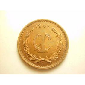 Moneda Un Centavo Monograma Fecha 1948 Cobre