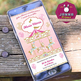 Convite Aniversário Carrossel Rosa - Digital Whatsapp
