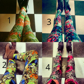 Leggins Estampados Talla Unica Polilycra Mayor Y Detallado