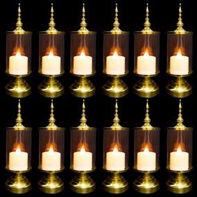 20 Vela De Led + 20 Castiçal Decorativo Provençal Dourado