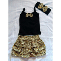 Conjunto Menina Infantil Oncinha Shorts/saia 1 Ano E 2 Anos