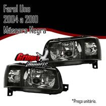 Farol Uno Mille 2004 A 2014 Mascara Negra Preto Lente Lisa