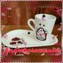 Taza Personalizada Souvenir Con Bandeja Porcelana