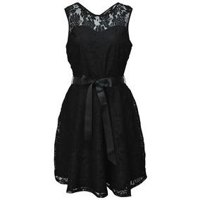 Vestido Sin Mangas Encaje Cintas Dama Mujer Negro 1645 Zoara