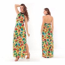 Roupas Femininas / Vestido Longo Estampado Fendas Handara