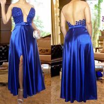 Vestido De Festa Longo Azul Royal Com Fenda Tule E Renda