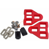 1 Par Rojo Look Delta Compatible Pedal Cierre Con Tornillos