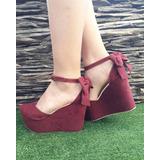 Calzado Plataforma Vino Tinto Zapatos Estilos De Moda Mujer