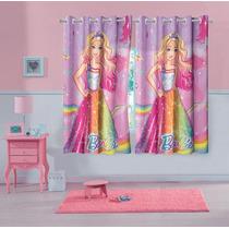 Cortina Infantil Estampada Barbie 1,50m X 1,80m 2pcs Lepper