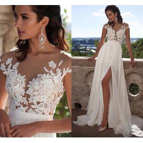 Vestido Noiva Longo Praia Casamento Renda Importado Festa