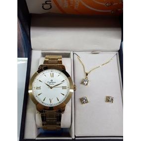 Relógio Champion Passion Grande Dourado Kit Ch24697j