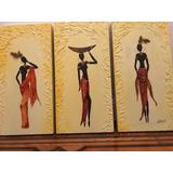 Cuadro Tríptico Mujeres Africanas Negras Con Relieve Madera