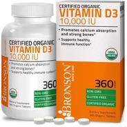 Vitamina D3 Bronson Organico 10,000iu 360 Tabletas