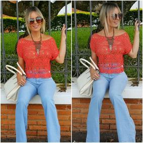 Top Cropped Blusinha Blusa Feminina Renda Guipir Crochet 740