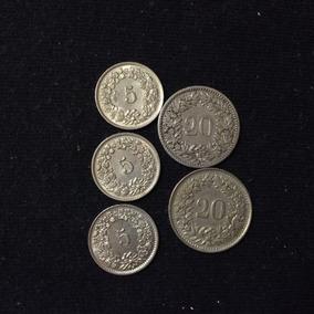 Moneda Suiza (lote 5 Pzas) Ltm16