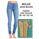 Molde Jean Mujer, Moldería En Cartón, Talles Del Xs Al Xxl