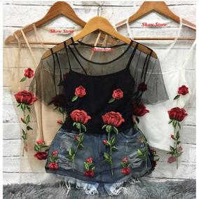 Blusa Tule Transparente Bordada Flores Blusinha Tendênci 760