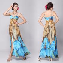Vestido Festa Madrinha Floral Estampado Fenda Nude Azul Luxo