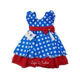 Vestido Festa Infantil Tema Galinha Azul C/ Bolinha Promoção