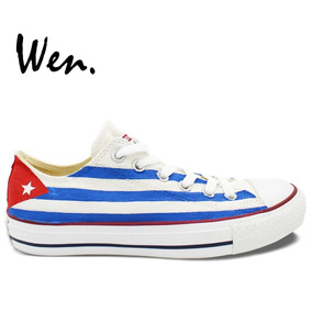 Tenis Tipo Converse , Bandera Cubana Pintado A Mano