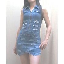 Vestido Enterito De Jeans Elastizado Entallado Mujer