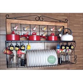 Paneleiro Madeira E Ferro Rústico Parede Cozinha Promoção
