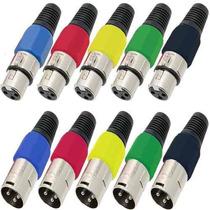 Kit 10 Plugs Xlr Conector Canon Macho Femea P/ Microfone