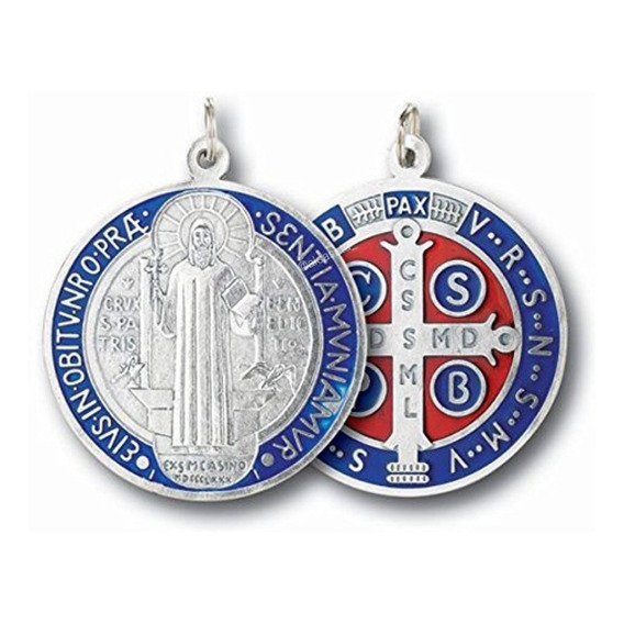 Medalla San Benito Medallon Plateado Esmaltado 50mm Italy