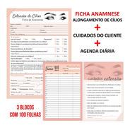 Kit Ficha Anamnese Alongamento De Cílios + Cuidados+ Agenda