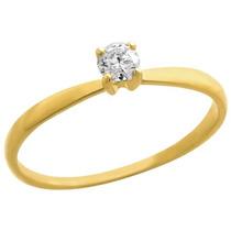 Anel Em Ouro 18k Solitário Diamante 15 Pontos - Sol15esp
