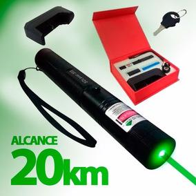 Super Caneta Laser Pointer Verde Longo Alcance 20km +estojo