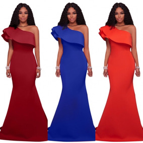 Vestido Vino Azul Rey Naranja Fiesta Sirena Un Hombro Boda