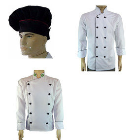 Dólmã Chef Cozinha Tradicional + Dolmã Oxford + Chapéu Preto