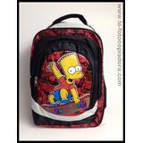 Mochila #120 Bart Simpson Roja Y Negra
