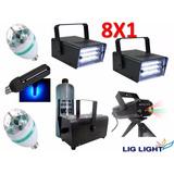 Kit Iluminação Festabalada Laser Strobo Luz Negra Máq Fumaça