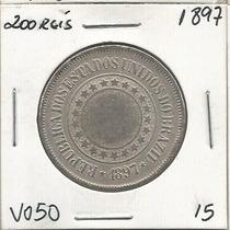 200 Reis Moeda De Niquel 1897 Brasil Republica