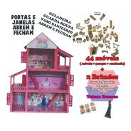 Casinha De Boneca Princesas Adesivada +44pçs(móveis+brindes)