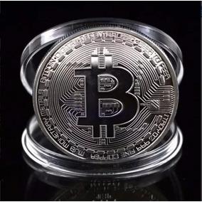 Moeda Bitcoin Física Prata