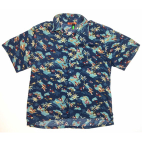 Camisa Hawaiana Tropical Floreada Surf Talle L 1025