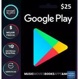 Tarjeta Google Play 25 Dolares Codigo Acept Mercadopago