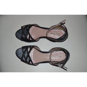 Sandália Preta City Shoes Tam 35 Sem Uso
