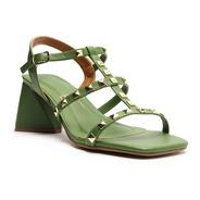 Sandália Feminina Salto Médio Bloco Tiras Tachas - My Shoes