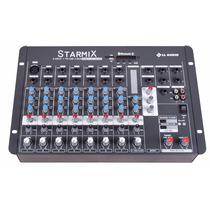 Mesa Som Mixer Ll Starmix Usfx802r 8ch Efeito Bluetooth Usb