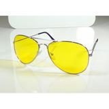 Oculos Aviador Prata Lentes Visão Noturna Sem Grau - A794