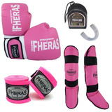 Kit Boxe Muay Thai Fheras Fheras Caneleira Bandagem Bucal