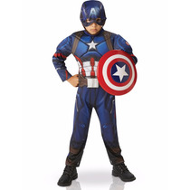 Disfraz Capitan America Musculos Mascara Marvel Original Pce