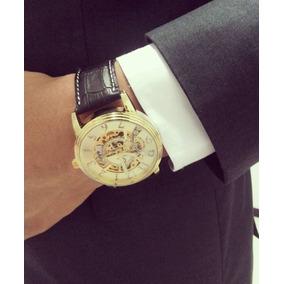 Relógio Masculino Barato Ecotime Automatico Esqueleto Couro