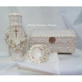 Hermoso Set Para Bautizo Con Cristales, Cofre Orden Especial