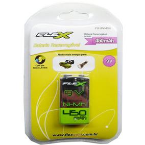 Baterias Recarregável 9v 450mah Flex Fx-9v/450 Violão Microf